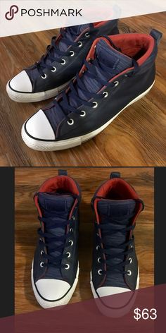 199495d4d30 Converse hightops✨ Men s size - Navy blue leather - Converse high tops -  used only once - excellent condition Converse Shoes Sneakers