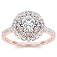 De Couer 14k Rose Gold 1ct TDW Diamond Halo Engagement Ring (H-I, I2) by De…