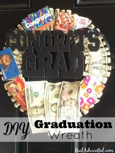 Learn how to make this cool, personalized Money Graduation Wreath