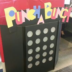 Price is Right Punch A Bunch game made out of a project display board, tissue paper, and solo cups (duck taped behind the board) for my office Halloween decorations/costumes. Buck And Doe Games, Punch Out Game, Party Games, Diy Games, Price Is Right Games, Halloween Decorations, Halloween Games, Halloween 2017, Halloween Ideas