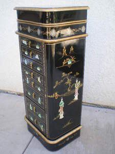 Black Lacquer Jewelry Armoire Armoires Chinese furniture and Bedrooms