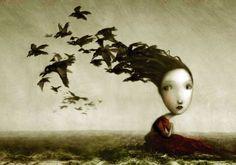 nicoletta ceccoli Crows  speechless..adore Art And Illustration, Arte Lowbrow, Art Bizarre, Weird Art, Art Fantaisiste, Art Manga, Italian Artist, Art And Technology, Pics Art