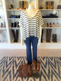 SEE IT ON | Stripes are a SUMMER STAPLE. Comfort + high waist follow suit! @dressmingle is open every Saturday from 9am-3pm. #dressmingle #backpack #leather #stripes #terrycloth #hoodie #ootd #whatiwore #stripes #hoodie #skinnyjeans