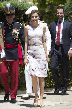 Queen Letizia of Spain Print Dress - Queen Letizia of Spain charmed in a watercolor-print dress by Hugo Boss while attending a military event in Zaragoza.