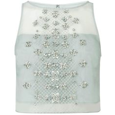 Coast Ada Embellished Top, Pale Blue (9.635 RUB) via Polyvore featuring tops, green crop top, see through tops, sheer embellished top, jeweled crop top и jeweled top