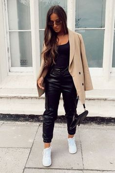 Ropa Black Faux Leather Utility Cuff Bottom Trousers - Dayna Weddings - The Fool With A Tool - Odd T Leather Trousers Outfit, Leather Joggers, Trouser Outfits, Legging Outfits, Faux Leather Pants, Outfits With Leather Pants, Black Trousers Outfit Casual, Black Jeans Outfit Night, All Black Outfit Casual