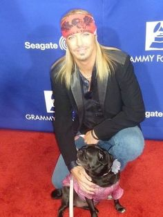 Brett Michaels with his pug Phoebe Rose