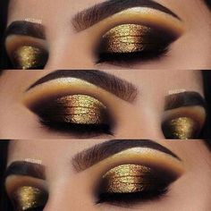 Dramatic Gold Eye Makeup Look for the Holidays *** more on beauty and skin care . - Dramatic Gold Eye Makeup Look for the Holidays *** more on beauty and skin care at www. Gold Makeup Looks, Dramatic Eye Makeup, Glitter Eye Makeup, Dramatic Eyes, Natural Eye Makeup, Eye Makeup Tips, Smokey Eye Makeup, Glam Makeup, Gorgeous Makeup