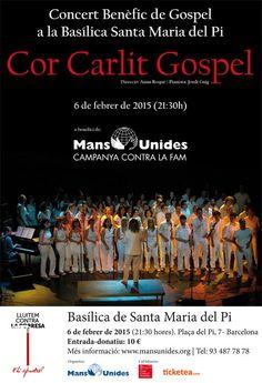 Concert del Cor Carlit Gospel a la Basílica de Santa Maria del Pi (Barcelona). En benefici de Mans Unides. 6 de febrer