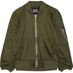 NLST Cotton-blend satin bomber jacket ($495) ❤ liked on Polyvore featuring outerwear, jackets, green, zipper jacket, zip jacket, military bomber jacket, bomber jacket and satin jacket