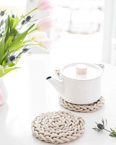 Finger-Knit Rope Trivet | Martha Stewart Living - Is Mom a tea drinker? This trivet made with your own hands was made for her! This gift idea from our friend Anne Weil of Flax & Twine is simple yet elegant, and did we mention it takes less than a half-hour to make?