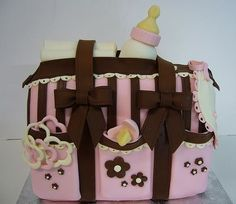 Pink diaper bag baby shower cake it is amazing what they can do:) Diaper Bag Cake, Baby Diaper Bags, Baby Shower Cakes, Baby Shower Gifts, Baby Gifts, Cake Pops, Cupcakes, Cute Little Baby, Fancy Cakes