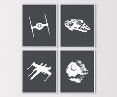 Star Wars Wall Art, Star Wars Ship Silhouettes, Star Wars Nursery Prints, Millenium Falcon, DeathStar, Tie Fighter, Instant Download