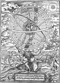 Atlas bearing the heavens in the form of an armillary sphere from William Cunningham, The Cosmographicall Glasse, London 1559. The verse at the bottom of the engraving is from Book I of Virgil's Aeneid, in which Atlas is referred to as a teacher of astronomy.