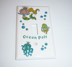 Mermaid and Ocean Pals Single Lightswitch by MoanasUniqueDesigns