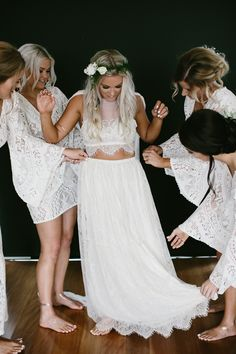 Boho bride and bridesmaid inspiration! Perfect for a beach wedding. Two Piece Wedding Dress, Boho Wedding Dress, Wedding Dresses, Reception Dresses, Bridal Gowns, Wedding Reception, Lace Wedding, Grace Loves Lace, Perfect Wedding