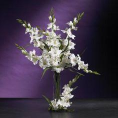 Nearly Natural Gladiola Orchids Floral Arrangement Gladiolus Flower, Flower Petals, Silk Flowers, Fake Flowers, White Flowers, Large Flower Arrangements, Rose Stem, Silk Plants, Plant Holders