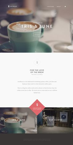 Flat Design Website; Example; Category: Inspiration; Name Site: Justbean; Type Website: A guide to our favourite coffee spots; Full sscreen.