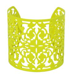 Neon filigree cut-out cuff bracelet. Kirigami, Paper Cutting, Arm Party, Neon Yellow, Eye Candy, Bling, Jewels, My Style, Bags