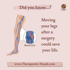 """Anyone who undergoes surgery is at risk of developing a life-threatening blood clot. Do not sit or lie in bed for long periods of time during the day. Continue walking around your home and changing positions frequently. Stretch your legs with """"heel to toe"""" movements and move feet in circles. Wear anti-embolism compression stockings, take aspirin, anticoagulants, or blood-thinners Remember: keep moving after your surgery. It could save your life. ⠀ Mobile Massage, Compression Stockings, After Surgery, Aspirin, Tummy Tucks, Massage Therapy, Save Yourself, Circles, Massage"""