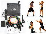 cool Ohuhu® Resistance Band Set, Resistance Bands Fitness Kit with 5 High-quality Stretch Tubes, Door Anchor, Ankle Strap, Exercise Chart, and Free Carrying Case – A Portable Gym, Perform the Best Exercises for Your Arms, Legs, Back, Shoulders, Abs and Your Chest with This Convenient Home Workout Set