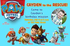 Paw Patrol Invitation https://www.etsy.com/listing/173808256/paw-patrol-birthday-party-invitations?ref=shop_home_feat