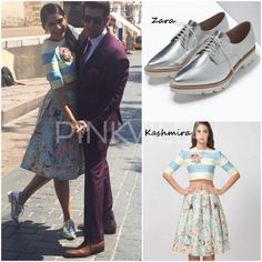 Decoded : Sonam Kapoor's looks for 'Dheere Dheere' Music Video | Sonam is in Kashmira crop top x skirt, Zara bluchers and Ae-Tee earrings