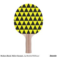 Modern Black, Yellow Geometric Triangles Ping Pong Paddle by M to the Fifth Power
