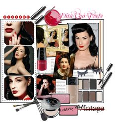 """Dita Von Teese Vintage Makeup Look By Art Deco"" by the-freckled-gypsy ❤ liked on Polyvore"