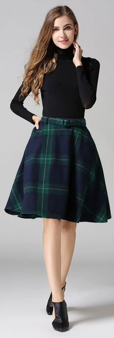 Hunter Plaid Flared Skirt with Belt