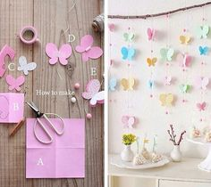 L Paper Butterflies, Paper Flowers Diy, Diy Paper, Butterfly Garden Party, Butterfly Birthday Party, Butterfly Decorations, Butterfly Crafts, Diy Arts And Crafts, Crafts For Kids