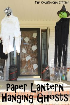 Paper Lantern Hanging Ghosts #Partymostess #diy #livingwikii #projecttot