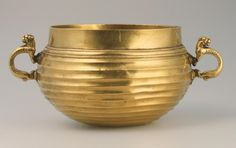 (Russia) Gold vessel, Early Iron Age. Sakae Culture. ca 5th - 4th century BCE. Siberian collection of Peter I. Russia, Siberia
