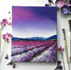 Field Acrylic Painting Art Print Purple Flower Field, Purple Sunset Sky Acrylic painting art print of a purple lavender field under a colorful sky. Print is size painting art print of a purple lavender field under a colorful sky. Print is size Simple Acrylic Paintings, Acrylic Art, Acrylic Painting Inspiration, Acrylic Painting On Paper, Art Paintings, Acrilic Paintings, Portrait Paintings, Painting Abstract, Purple Sunset