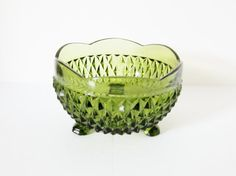 Vintage Avocado Green Candy Dish Nut Bowl 1960s
