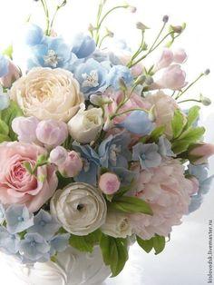 49 Ideas garden rose bouquet wedding florists for 2019 Pastel Flowers, Clay Flowers, Pretty Flowers, Pastel Bouquet, Spring Bouquet, Pretty Pastel, Spring Flowers, Pink And Blue Flowers, Blue Bouquet