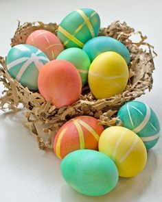 We love these striped multicolor eggs created by Sarah Krouse! And the handmade paper basket holding her beautiful bounty earns her extra points in our book.