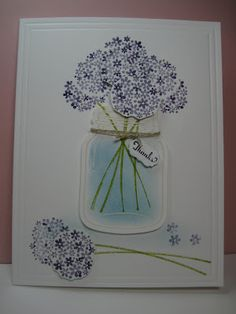 These flowers from the Perfectly Preserved stamp set look like lilacs when colored in wisteria and eggplant.  Place them in the jar as a vase with a sweet note of thanks for a handmade thank you card.