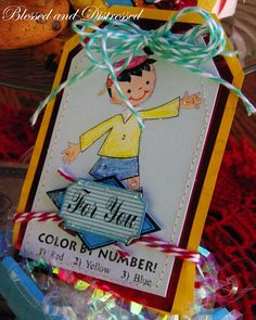 Color by Number tag from Party Games Paper kit. Aqua and Red Twirly Twine.