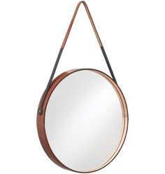 Round Leather-Wrapped Mirror /
