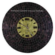 Часы Настенные, Круглые в стиле Арт-Деко из авантюриновой мозаики и золотой смальты
