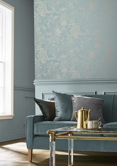 Fresh and liveable, Basuto Duck Egg wallpaper Is the perfect modern take on a Graham and Brown archival design. Duck Egg Blue Lounge, Duck Egg And Grey Bedroom, Duck Egg Blue Sofa, Duck Egg Blue Living Room, Brown And Blue Living Room, Living Room Grey, Living Room Sofa, Home Living Room, Living Spaces
