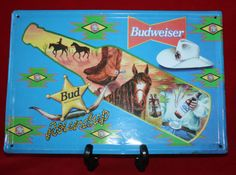 Budweiser-Beer-Metal-Sign-Advertising-Horse-Barware-Boots-Bud-Man-Cave-8-x-11