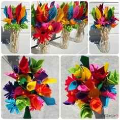 Hand made felt flowers - gift  - floral arrangements - Made in NZ