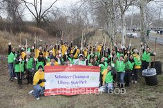 World Mission Society Church of God volunteers protect the ecosystem at Liberty State Park during MLKDay National Day of Service 2014.