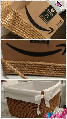 diy by me!  All I needed was a cardboard box, some rope, a hot glue gun,  and linen to line the inside of the box<br> Glue Gun Crafts, Rope Crafts, Diy Home Crafts, Kids Crafts, Diy Home Decor, Diy Glue, Upcycled Crafts, Easy Crafts, Diy Para A Casa