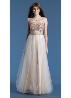 A line Scoop Tulle with Beading and Sequins Orange Prom Dress