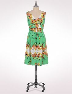 Pleated Belted Floral Dress