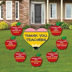 Teacher Appreciation - First Day of School Yard Sign & Outdoor Lawn Decorations - Thank You Teachers Yard Signs - Set of 8 Thanks Teacher, Teacher Thank You, School Yard Signs, Teacher Signs, Teacher Party, Teacher Quotes, Big Dot Of Happiness, Last Day Of School, School Stuff