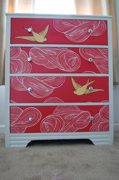 Daydream (Red) in a fun dresser remake. #wallpaperedfurniture #wallpaperDIY